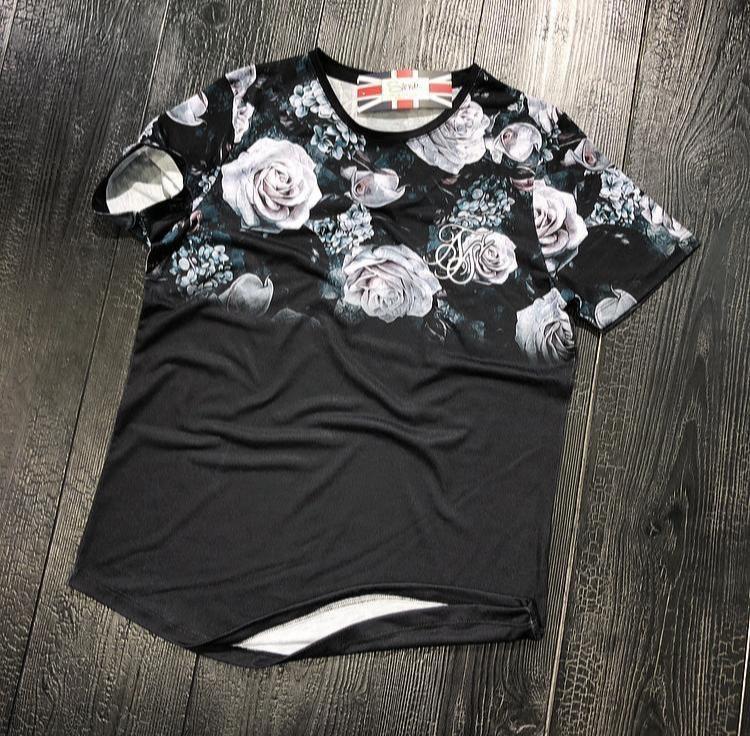 Мужская футболка черная Sik Silk 924 розы