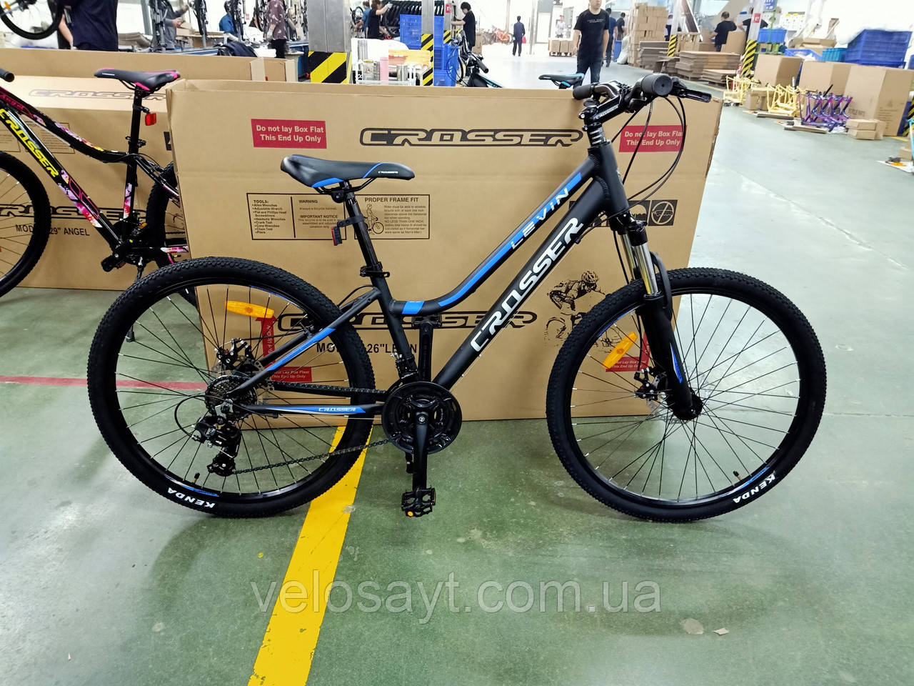 """Подростковый горный велосипед Crosser levin 24 дюймов размер рамы 12""""  BLACK-BLUE"""
