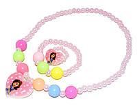 """Дитячий комплект біжутерії """"принцеса"""" (намисто+браслет+кільце) рожевий"""