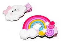 """Детские зажимы для волос """"радуга"""" розовый (2 шт)"""