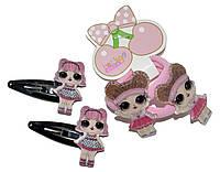 """Детские набор для волос """"Лол"""" (2 хлопушки и 2 резиночки)  розовый"""