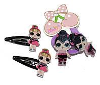 """Детские набор для волос """"Лол"""" (2 хлопушки и 2 резиночки) фиолет"""