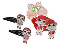 """Детские набор для волос """"Лол"""" (2 хлопушки и 2 резиночки) красный"""