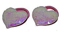 """Детские Резинки для волос с паетками """"сердечко"""" - розовый (2 шт), фото 1"""