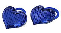 """Детские Резинки для волос с паетками """"сердечко"""" - синий (2 шт), фото 1"""
