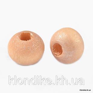 Бусины Деревянные, Окрашенные, Круглые, 5~6 мм, Цвет: Персиковый (330шт/25г)