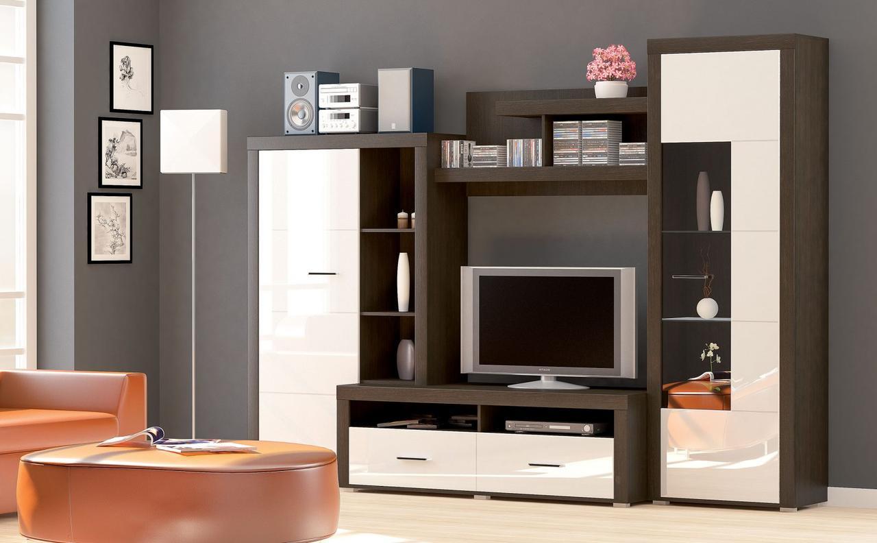 Стенка Неон-1 Мебель Сервис (темный венге/белый глянец)