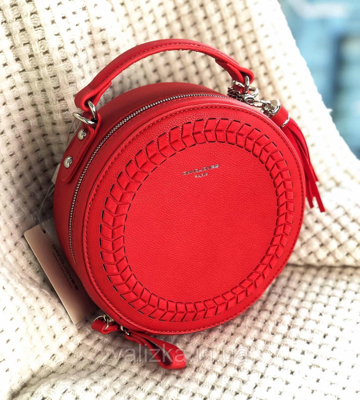Сумка круглая с плетенкой кросс-боди David Jones женская весення сумочка красная