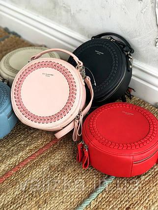 Сумка круглая с плетенкой кросс-боди David Jones женская весення сумочка красная, фото 2