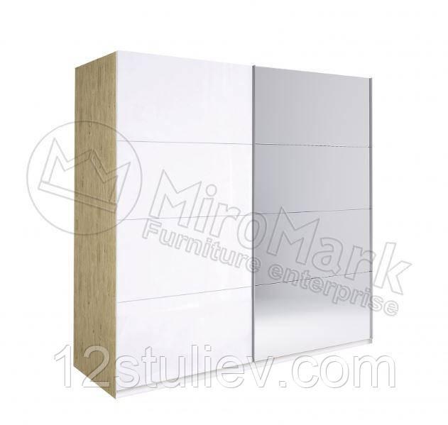 Шафа-КУПЕ Флоренція 2,0 м (*Двері білий глянець/Дзеркало*)