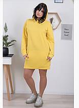 Худі жіночий з капюшоном і кишенею, різні кольори, р. 44,46,48,50,52,54,65,58,60 код 1017О, фото 3