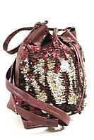 Женский рюкзак-сумка с пайетками из кожзама 042
