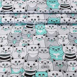 Тканина полікотон з м'ятними котами в кіно, ширина 220 см
