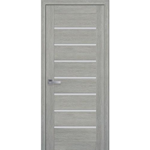 Дверное полотно Леона (стекло сатин) дуб дымчастый