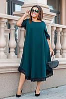 Платье женское летнее батальное с кружевом