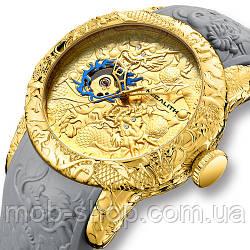 Наручные часы Megalith 8041M Gold-Gray Dragon Sculpture Оригинал годовая гарантия на механизм