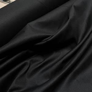 Ткань рубашечная поплин стрейч черный