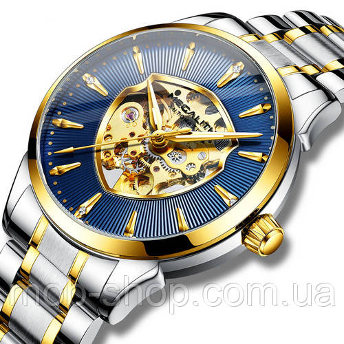 Механические мужские часы Megalith 8210M Silver-Gold- Blue Оригинал годовая гарантия на механизм