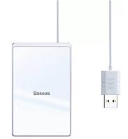 БЗУ Wireless Charger Baseus Card Ultra-Thin 15W с кабелем USB 1 м Silver