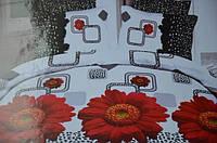Двуспальное постельное белье Лилия с HD эффектом красные цветы