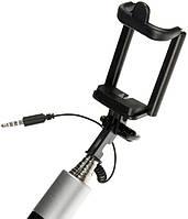 Палка для селфи монопод S12 проводной с кабелем AUX 3,5 mm Черный