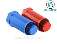 Заглушка пластиковая с наружной резьбой 1/2 (синяя/красная)