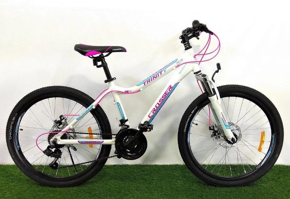 """Подростковый горный велосипед Crosser Trinity 24 размер рамы 15"""" дюймов WHITE"""