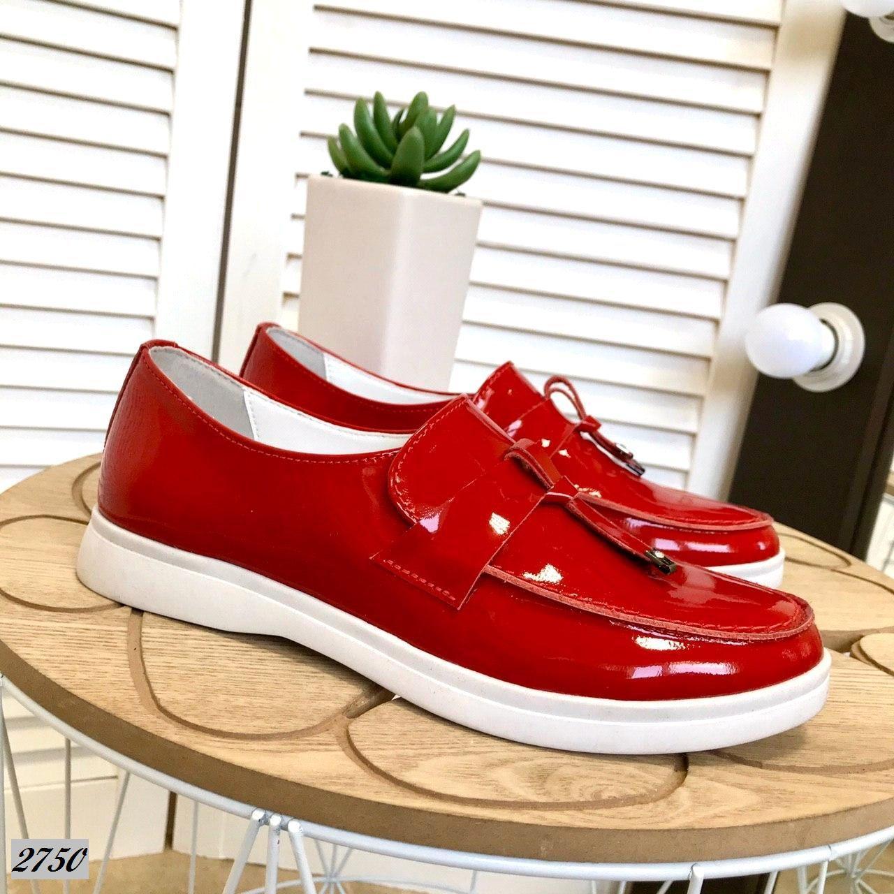 Туфли лоферы из натуральной кожи лак 36-40 р красный