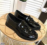 Туфли лоферы из натуральной кожи лак 36-40 р чёрный, фото 1