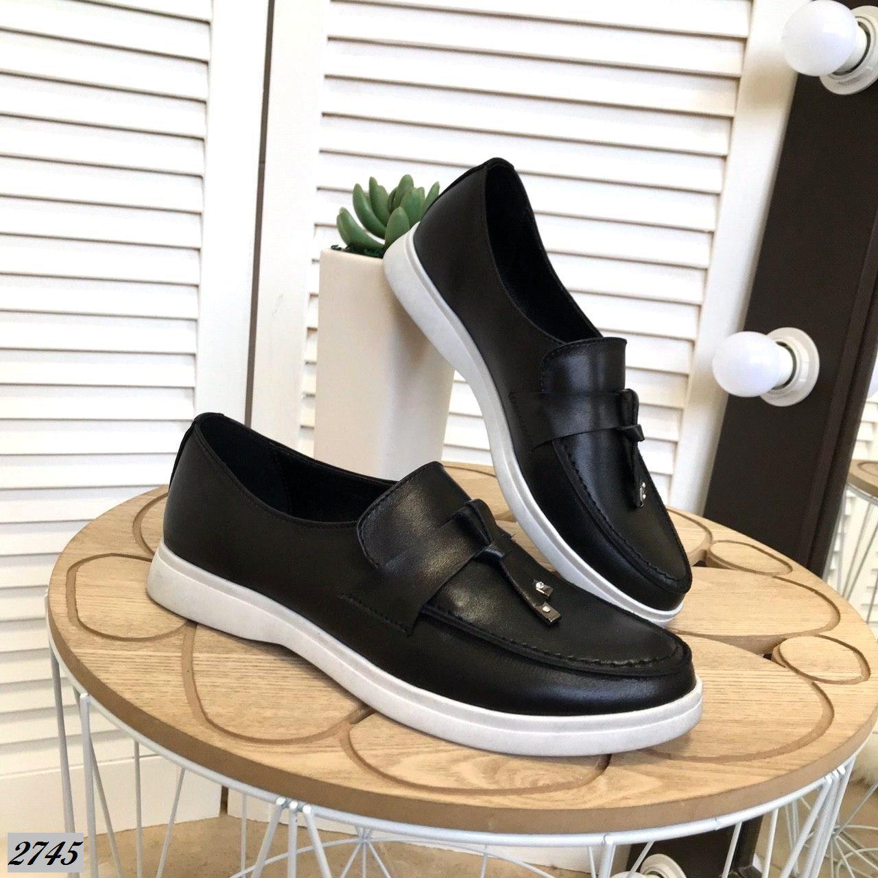 Туфли лоферы из натуральной кожи 37,38 р чёрный