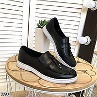 Туфли лоферы из натуральной кожи 37,38 р чёрный, фото 1