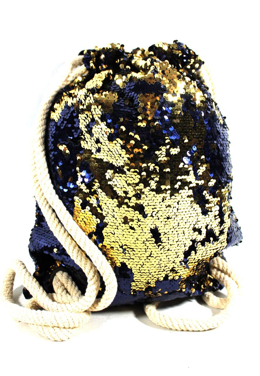 Женский рюкзак-мешок из кожзама с пайетками 1004