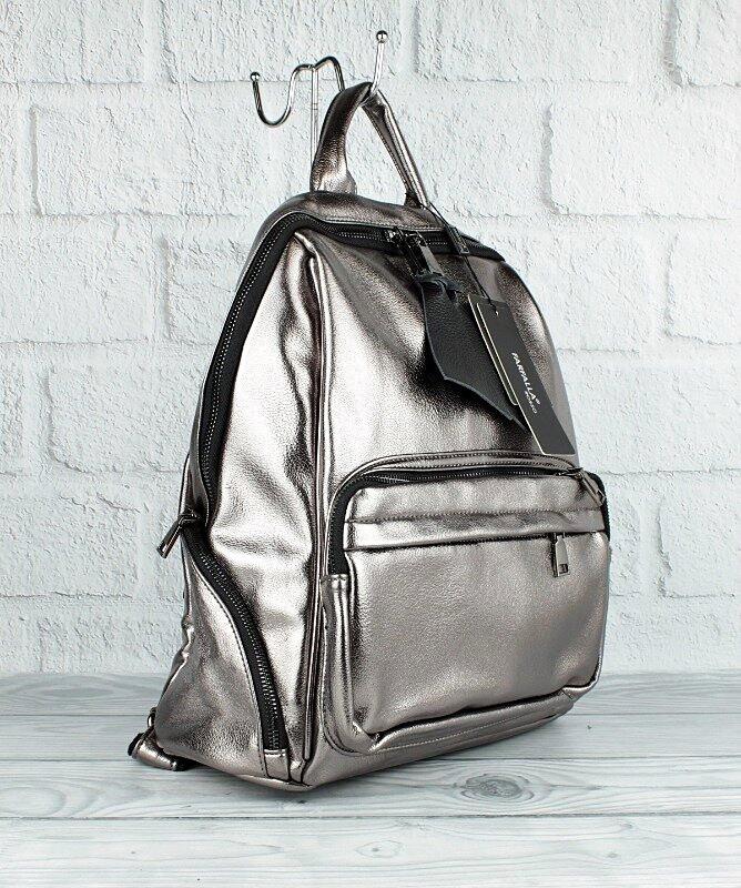 Рюкзак большой кожзам женский темное серебро Farfalla Rosso 3078