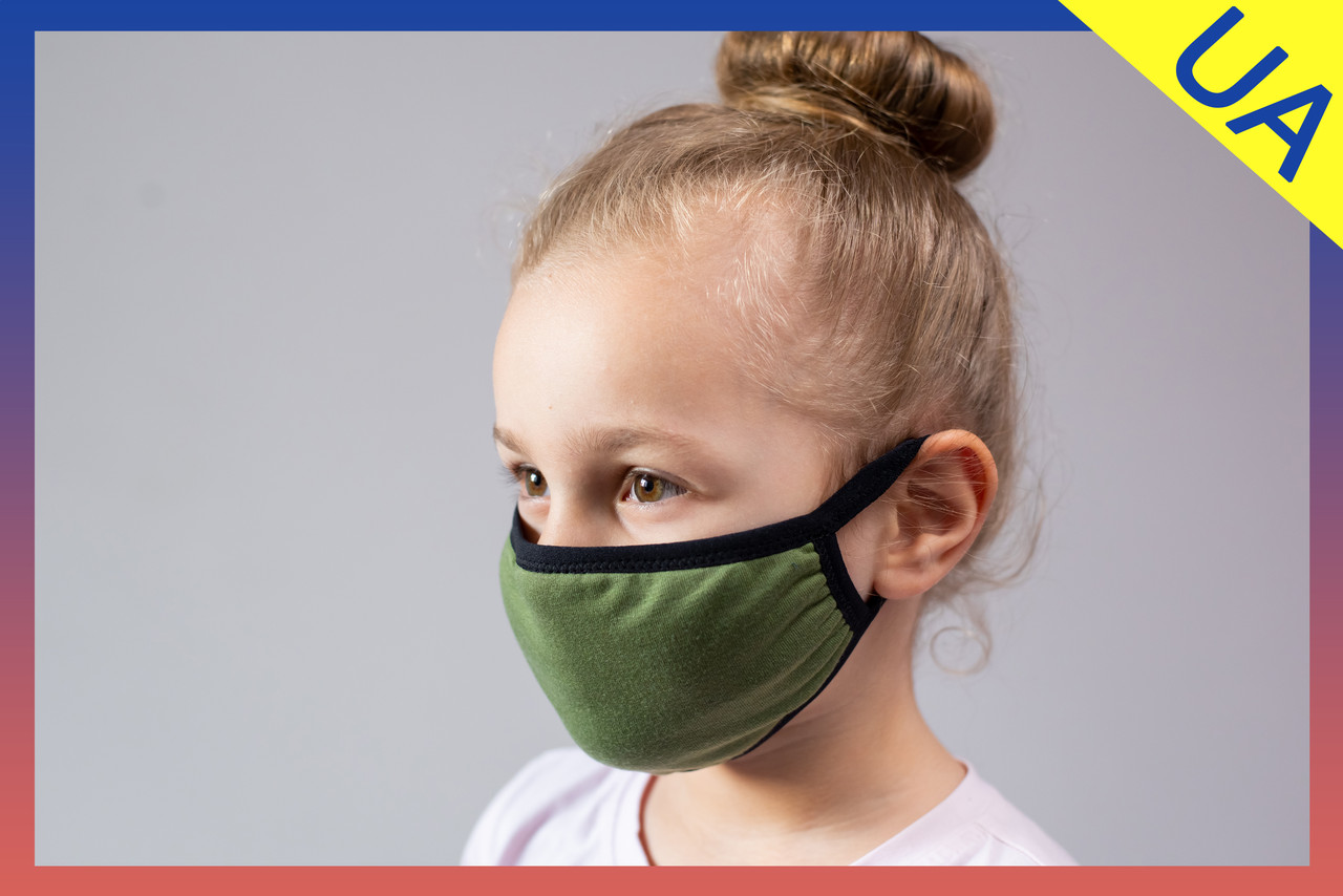 Маска защитная 2-х слойная многоразовая детская хаки
