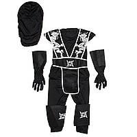 Детский карнавальный костюм ниндзя для мальчика, рост 92-104 см, черный, вискоза, полиэстер (091003A)