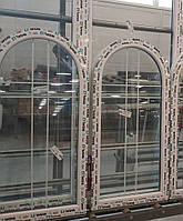 Арочное окно со шпросами белыми в стеклопакете 1000х1500 мм WDS
