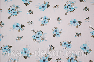 Сатин (хлопковая ткань) Голубые анемоны (45*160)