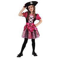 Детский карнавальный костюм пират для девочки, рост 92-104 см, черный, розовый, вискоза, полиэстер (091013A)