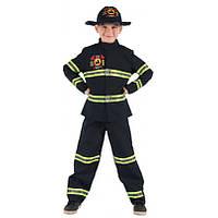 Детский карнавальный костюм пожарника для мальчика, рост 92-104 см, черный, вискоза, полиэстер (091014A)