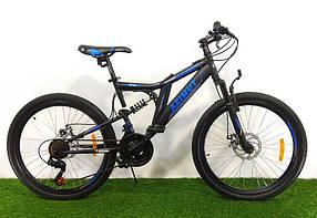 """Підлітковий гірський велосипед Azimut Blackmount 24 розмір рами 16"""" GD BLACK-BLUE"""