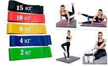 Набор из 5 фитнес-резинок для тренировок + мешочек