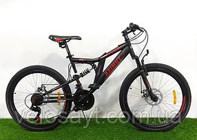 """Підлітковий гірський велосипед Azimut Blackmount 24 розмір рами 16""""GD BLACK-RED"""