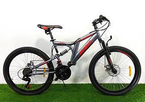"""Підлітковий гірський велосипед Azimut Blackmount 24 розмір рами 16"""" GD GREY RED"""