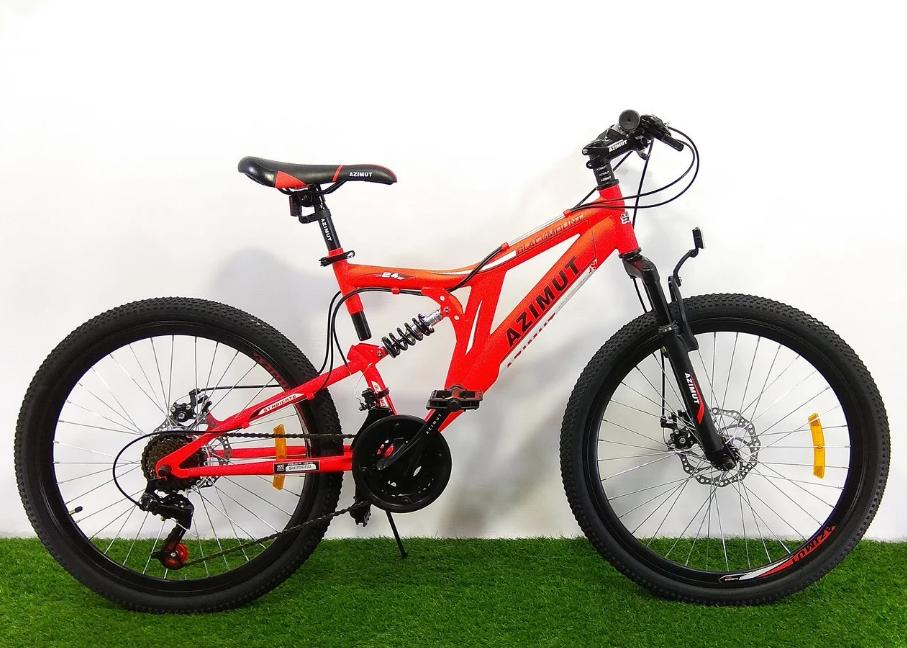 """Подростковый горный велосипед Azimut Blackmount 24 размер рамы 16"""" GD RED"""