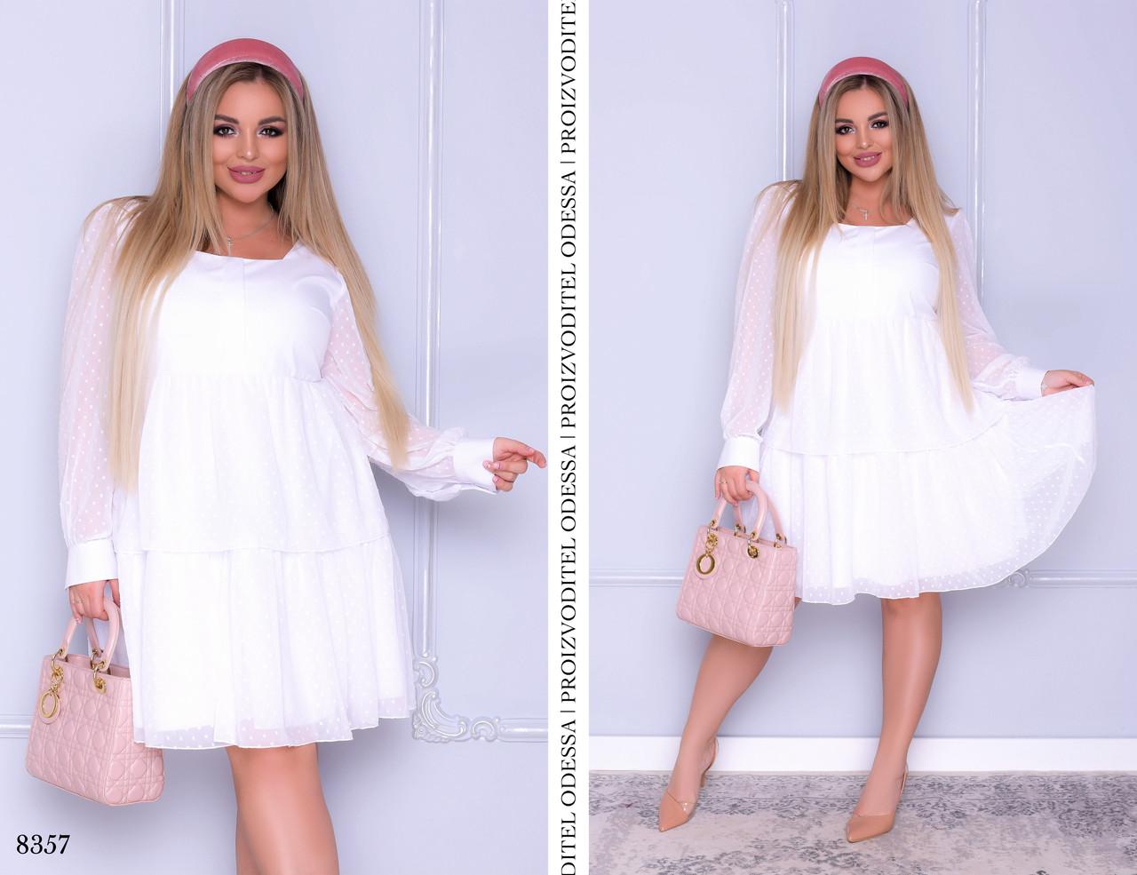 Платье длинный рукав раскленешнное шифон с вышивкой горох+софт 50-52,54-56,58-60,62-64