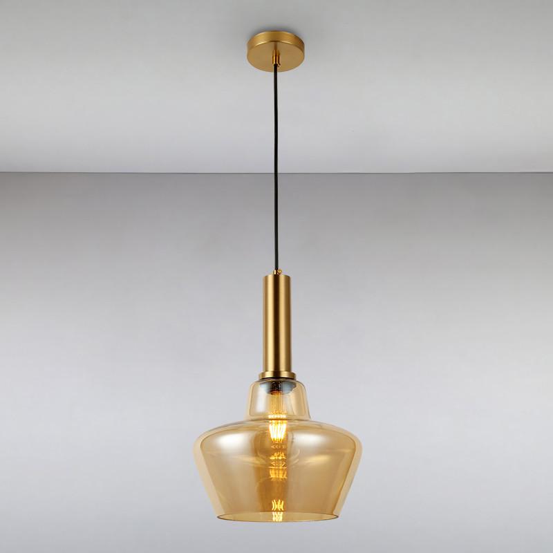 Люстра подвесная на одну лампу LS-814865-1 BR коричневая