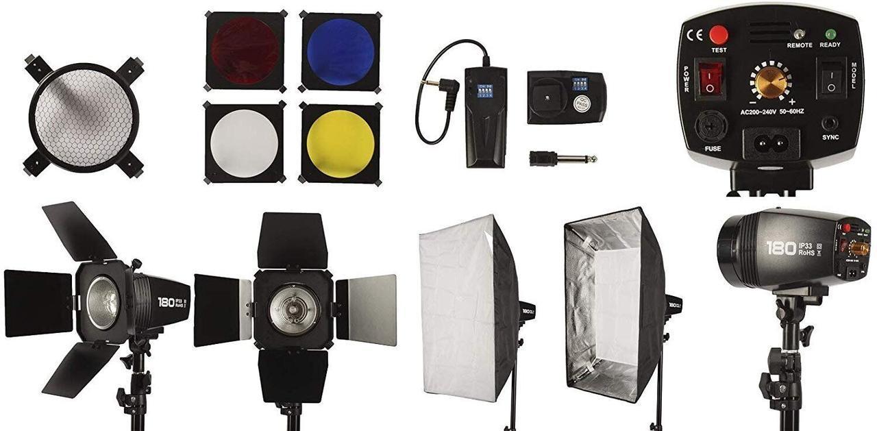 Набір студійного імпульсного світла FST PHOTO EG-180KA IP33 максимальний