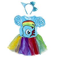 Детский карнавальный костюм принцесса-4, рост 110-120 см, голубой, вискоза, полиэстер (091038B)