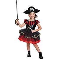 Детский карнавальный костюм пират для девочки, рост 92-104 см, черный, красный, вискоза, полиэстер (091039A)