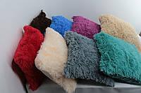 Декоративная подушка 50*50 см махра травка из искуственного меха Коричневый и бежевый